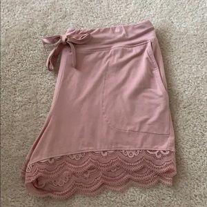 Soma Cool Nights Lace Trim Pink Pajama Shorts.